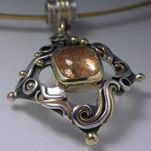 Sunstone Pendant in Silver and Gold