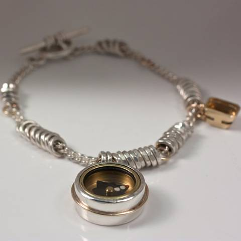Silver and Gold Compass Bracelet with Citrine