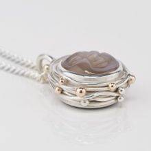 Moonstone Silver Compass Pendant